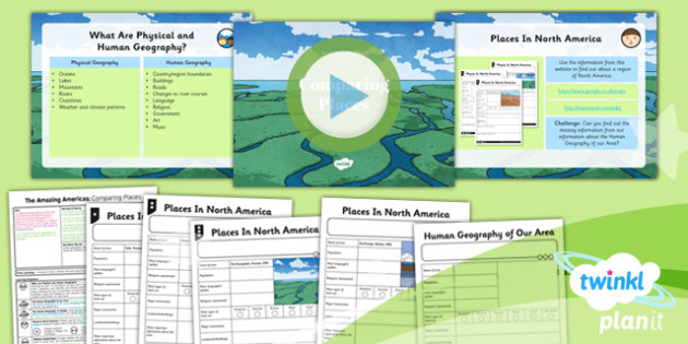 PlanIt - Geography Year 6 - The Amazing Americas Lesson 4: Comparing Places Lesson Pack - planit, geography, North America, human