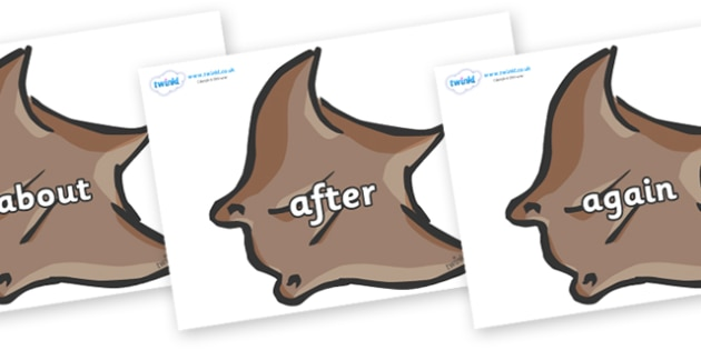 KS1 Keywords on Manta Rays - KS1, CLL, Communication language and literacy, Display, Key words, high frequency words, foundation stage literacy, DfES Letters and Sounds, Letters and Sounds, spelling