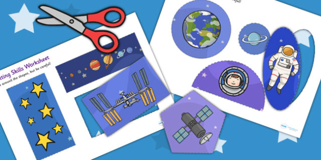 Space-Themed Cutting Skills Sheet - cut, fine motor skills