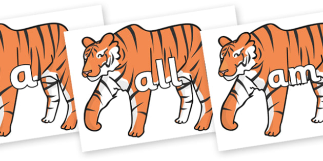 Foundation Stage 2 Keywords on Chinese New Year Tiger - FS2, CLL, keywords, Communication language and literacy,  Display, Key words, high frequency words, foundation stage literacy, DfES Letters and Sounds, Letters and Sounds, spelling