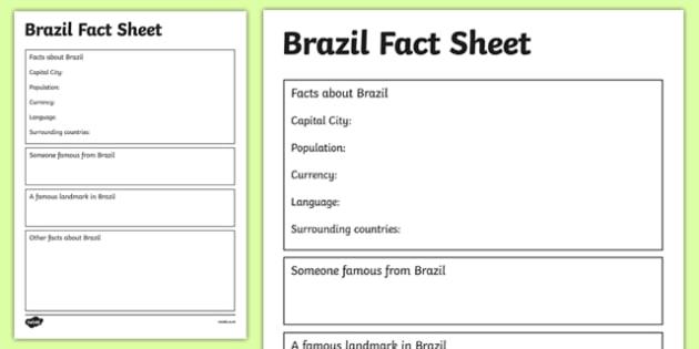 Brazil Factsheet Writing Template - brazil, brazil fact sheet, brazil fact file, brazil worksheet, facts about brazil, brazil information, ks2 geography