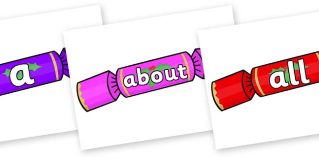 100 High Frequency Words on Multicoloured Crackers - High frequency words, hfw, DfES Letters and Sounds, Letters and Sounds, display words