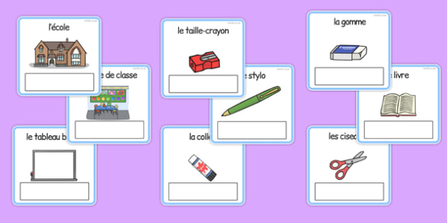 Everyday Objects at School Editable Cards French - french, EAL, everyday objects, editable cards, EAL cards, cards with english, english, words, language