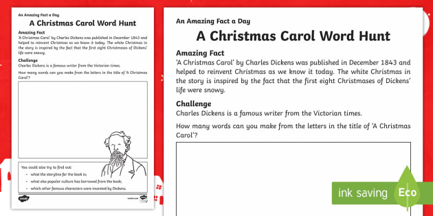 A Christmas Carol Word Hunt Activity Sheet - Amazing Fact Of The Day, activity sheets, powerpoint, starter, morning activity, December, A Christm