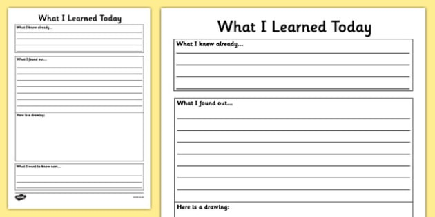 What I Learned Today Template - template, learned, today, what