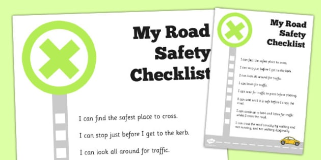 Road Safety Checklist - road safety, checklist, check, road, safe
