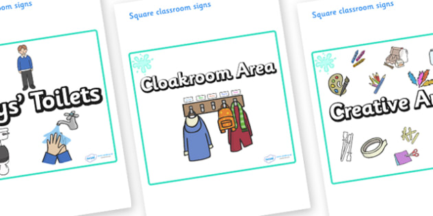 Turquoise Themed Editable Square Classroom Area Signs (Plain) - Themed Classroom Area Signs, KS1, Banner, Foundation Stage Area Signs, Classroom labels, Area labels, Area Signs, Classroom Areas, Poster, Display, Areas