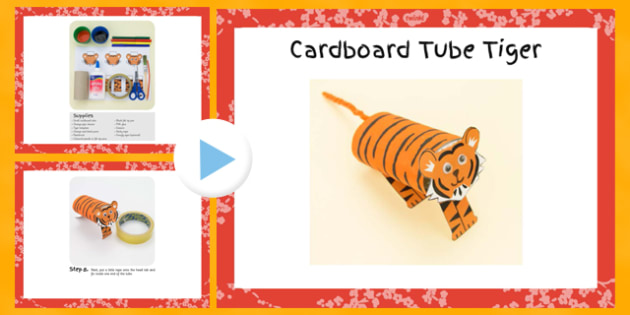 Cardboard Tube Tiger Craft Instructions PowerPoint - craft, cardboard, tube, tiger, instructions, powerpoint