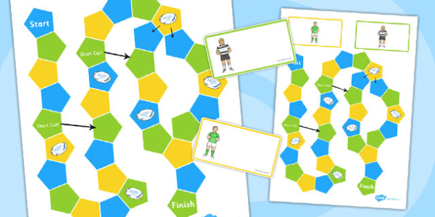 Rugby Themed Editable Board Game - rugby, editable, board game