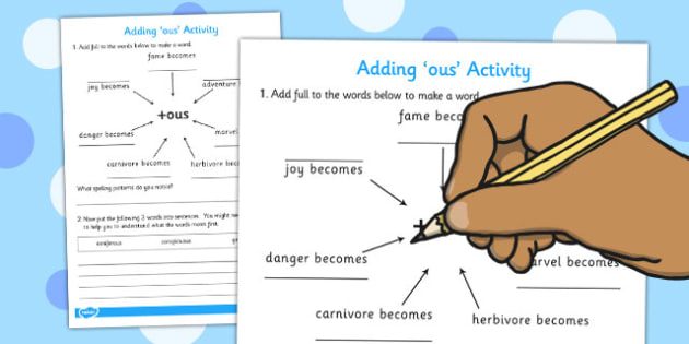 Adding -ous Spelling Activity - adding, ous, spelling, activity