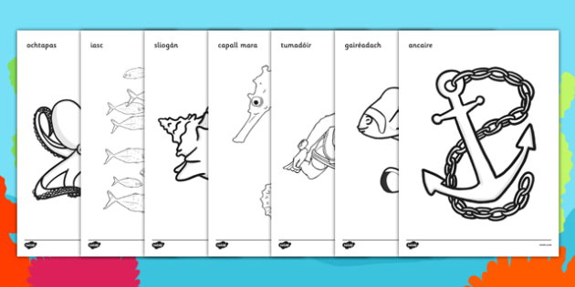 Under the Sea Colouring Posters Gaeilge - Under the sea, sea, seaside, activity, posters, colouring, fine motor skills, water, tide, fish, sea creatures, shark, whale, marine, dolphin, starfish, waves, sand