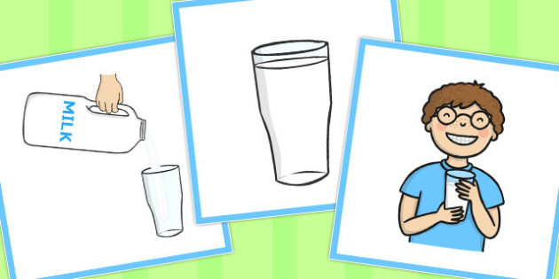 3 Steps Sequencing Cards Drinking Milk - Sequencing, Drink, Milk