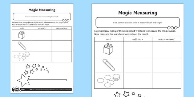 Magic Measuring Activity Sheet - Measurement, measuring, non-standard units, non standard units, worksheet, measure