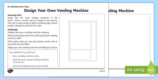 Design Your Own Vending Machine Activity Sheet, worksheet