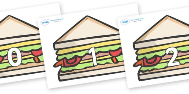 Numbers 0-31 on Sandwiches to Support Teaching on The Lighthouse Keeper's Lunch - 0-31, foundation stage numeracy, Number recognition, Number flashcards, counting, number frieze, Display numbers, number posters