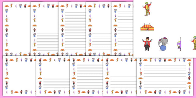 Circus Page Borders - circus, clown, juggler, page border, border, writing template, writing aid, acrobats, big top, magician, monkey, ring master, trapeze, horse, elephant, lion tamer, stilts, sea lion
