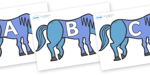 A-Z Alphabet on Blue Horse to Support Teaching on Brown Bear, Brown Bear - A-Z, A4, display, Alphabet frieze, Display letters, Letter posters, A-Z letters, Alphabet flashcards