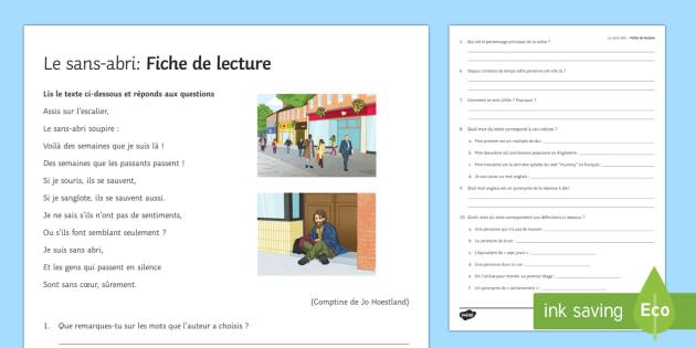 Sans-abri : Fiche de lecture - french, Literature, littérature, lecture, reading, homeless, sans-abri