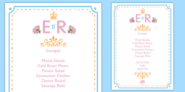 The Queen's Birthday Party Role Play Menu - the queens birthday, party, birthday party, birthday, role play, menu