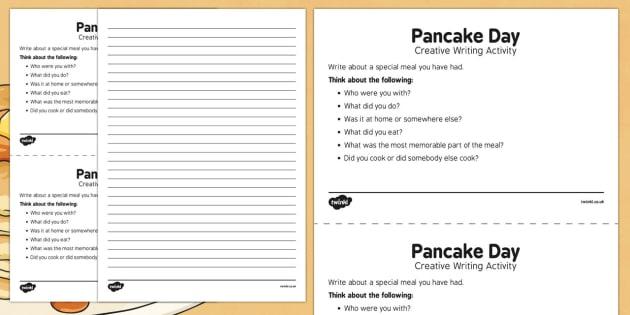 Pancake Day Creative Writing Activity - Elderly, Reminiscence, Care Homes, Pancake Day