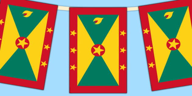 Grenada Flag Display Bunting - countries, geography, flags