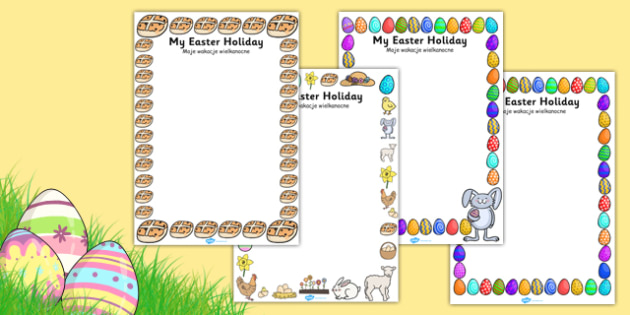 My Easter Holiday Writing Frames Polish Translation - polish, writing frame, frame, writing, writing aid, writing template, template, literacy, reading and writing