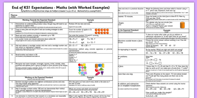End of KS1 Expectations Maths with Worked Examples Romanian Translation - romanian, Assessments, maths, numeracy, KS1, key stage 1, one, examples, evidence, levelling, progress, monitoring