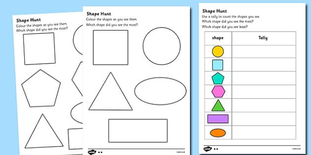 Shape Hunt Worksheet - shape hunt worksheet, shapes worksheet, shapes activity sheet, shapes activity, shape hunt activity