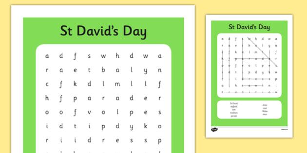 St Davids Day Wordsearch - st davids day, wordsearch, words
