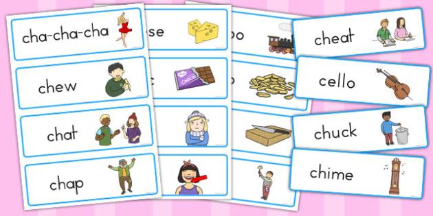 ch Sound Word Cards - australia, ch sound, word cards, cards