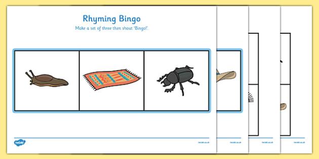 Rhyming Bingo Set - Rhyming strings, rhyme bingo,  rhyme, rhyme game, rhyme activity, literacy game, word game