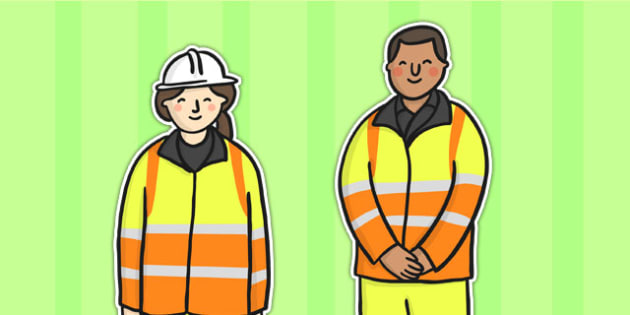 Road Worker Stick Puppets - stick puppet, puppet, role play, road