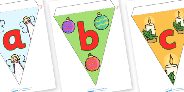 A-Z Lowercase Alphabet Christmas Bunting - a-z, christmas, flags