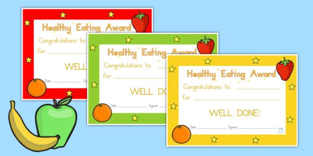 Healthy Eating Award Certificate - health, food, rewards, praise