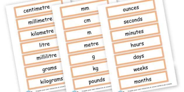 Units of Measurement Cards - Shapes, Spaces & Measures Primary Resources, maths, 3D, 2D, shapes