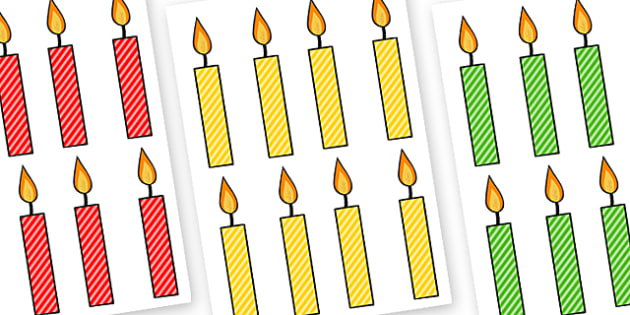 Editable Multicoloured Candles Stripes - editable, image, editable image, editable candles, multicoloured candles, editable picture, editable display image, display, display picture
