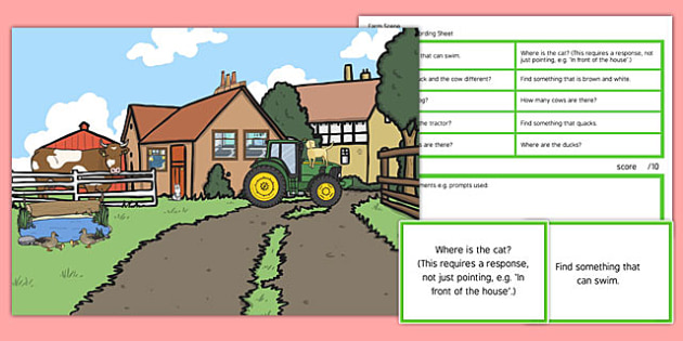 Farm Scene Blanks Level 2 Questions - receptive language, expressive language, verbal reasoning, language delay, language disorder, comprehension, autism