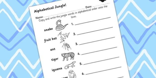 Jungle Themed Alphabet Ordering Worksheet - jungle, a-z, order