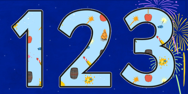Bonfire Night Themed Display Numbers - bonfire night, display numbers, numbers for display, themed display numbers, display, numbers, classroom display, number