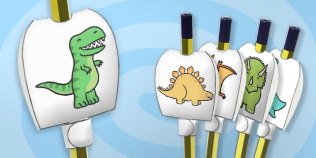 Dinosaur Themed Pencil Toppers - paper, pencil, tops, puppet