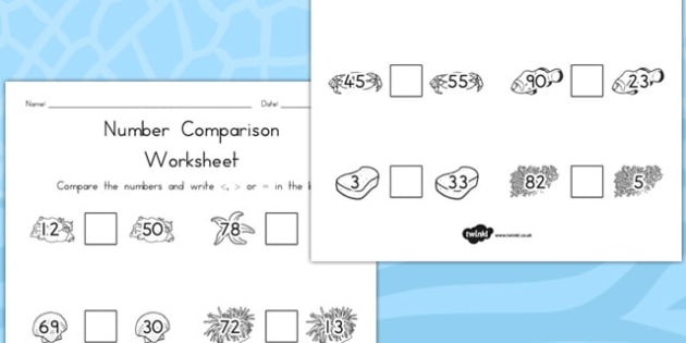 Great Barrier Reef Number Comparison Worksheets - australia, reef