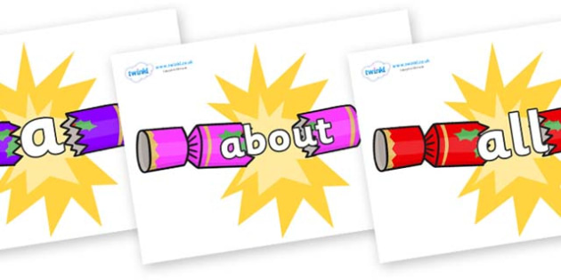 100 High Frequency Words on Christmas Crackers (Cracking) - High frequency words, hfw, DfES Letters and Sounds, Letters and Sounds, display words