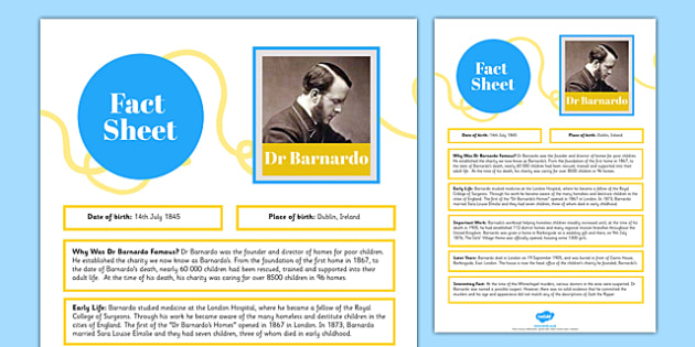Dr Barnardo Fact Sheet - dr, barnardo, fact sheet, fact, sheet, british
