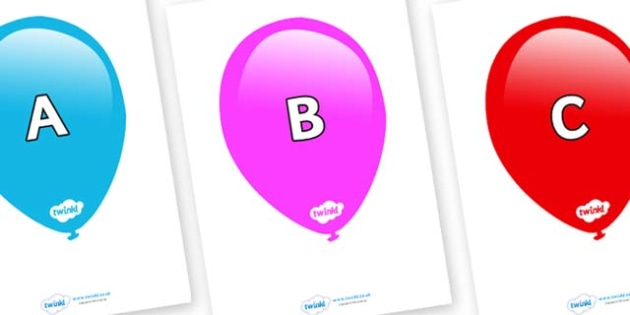 A-Z Alphabet on Balloons (Multicolour) - A-Z, A4, display, Alphabet frieze, Display letters, Letter posters, A-Z letters, Alphabet flashcards