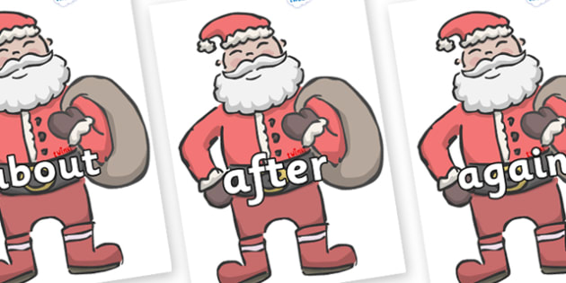 KS1 Keywords on Santas - KS1, CLL, Communication language and literacy, Display, Key words, high frequency words, foundation stage literacy, DfES Letters and Sounds, Letters and Sounds, spelling