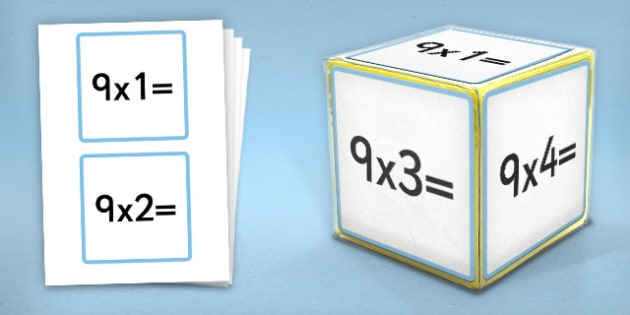 Giant Foam Dice Squares 9 Times Tables - foam dice, squares, 9