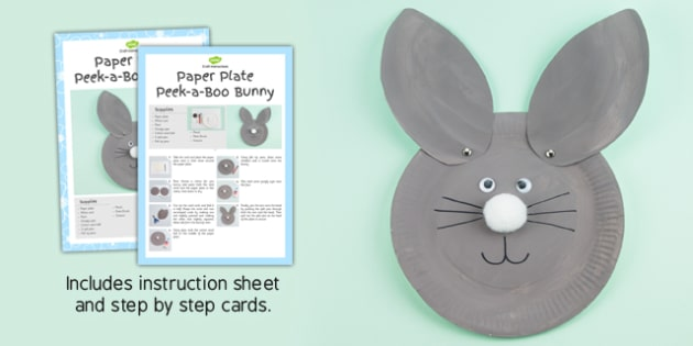 Paper Plate Peek A Boo Bunny Craft Instructions - craft, bunny