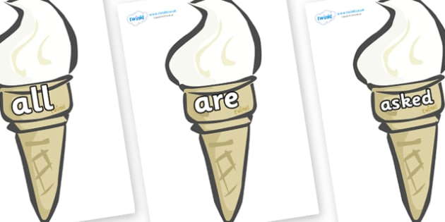 Tricky Words on Ice Creams - Tricky words, DfES Letters and Sounds, Letters and sounds, display, words
