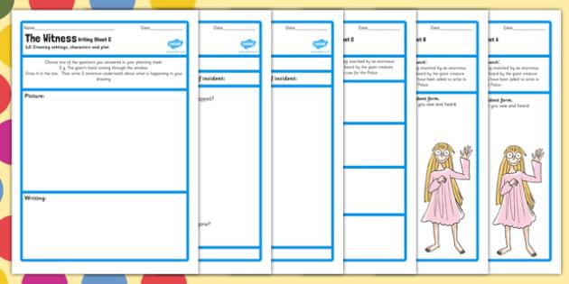 Eyewitness Planning and Writing Worksheets to Support Teaching on The BFG - bfg, worksheet