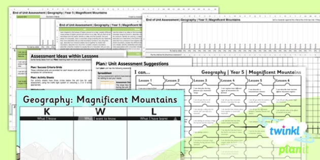 PlanIt - Geography Year 5 - Magnificent Mountains Unit Assessment Pack - planit, geography, year 5, magnificent mountains, unit, assessment, pack